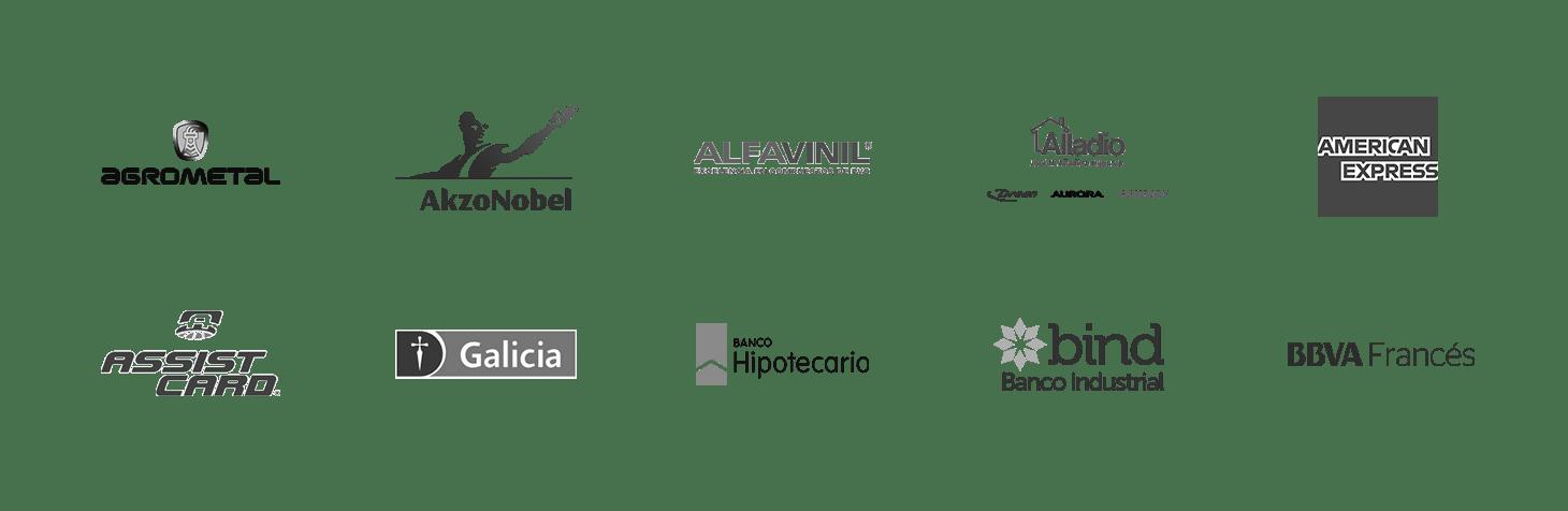 Algunos de nuestros clientes: Agrometal, Akzo Nobel, Alfavinil, José M. Alladio e Hijos, American Express, Assist Card, Banco de Galicia, Banco Hipotecario, Banco Industrial, BBVA.