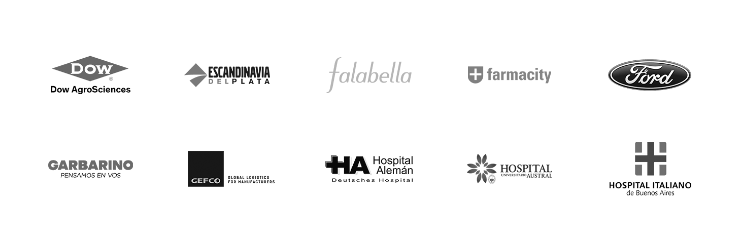Algunos de nuestros clientes: Dow, Escandinavia del Plata, Falabella, Farmacity, Ford, Garbarino, Hospital Alemán, Hospital Austral, Hospital Italiano de Buenos Aires.