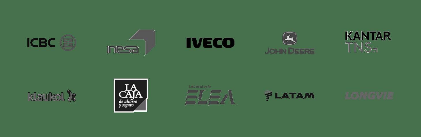 Algunos de nuestros clientes: ICBC, Inesa, Iveco, John Deere, Kantar TNS, Klaukol, La Caja, Laboratorios Elea, Latam, Longvie.