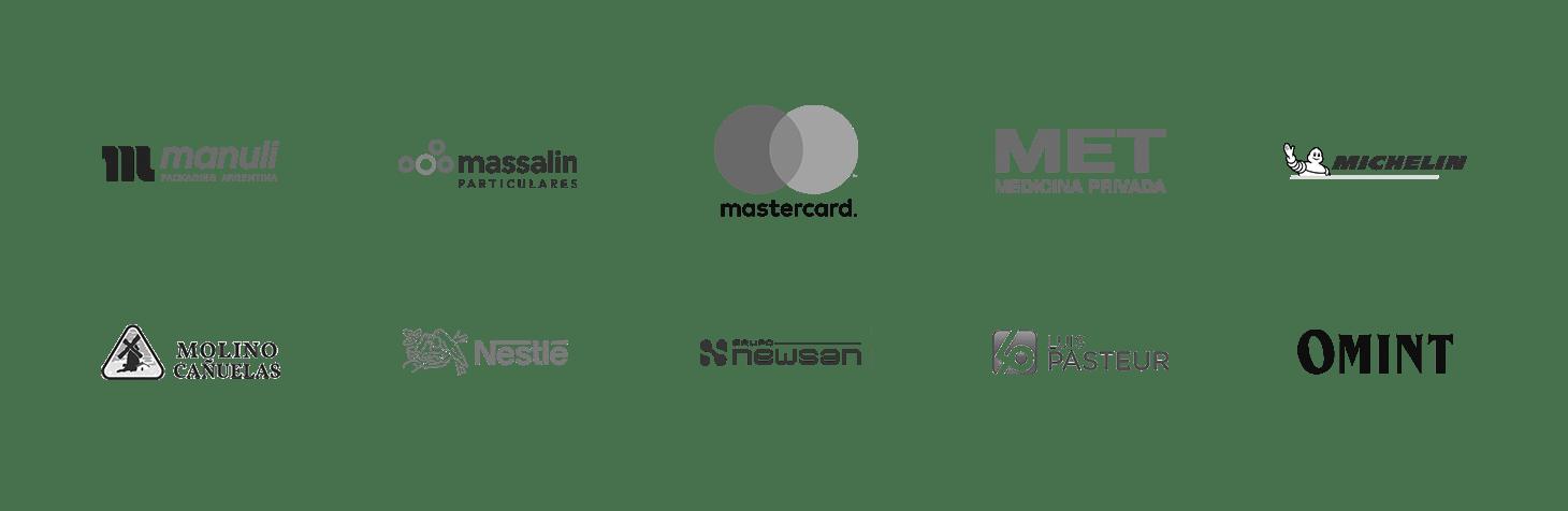 Algunos de nuestros clientes: Manuli, Massalin Particulares, Masercard, Met, Michelin, Molino Cañuelas, Nestrlé, NewSan, Obra Social Luis Pasteur, Omint.