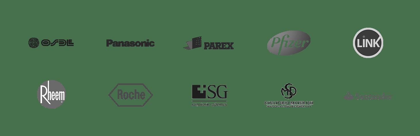 Algunos de nuestros clientes: Osde, Panasonic, Parex, Pfizer, Link, Rheem, Roche, Sanatorio Guemes, Sanatorio Mater Dei, Santander.