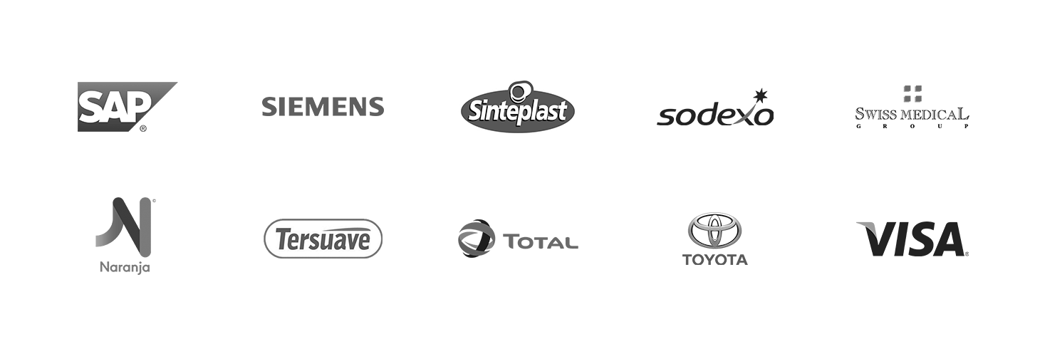 Algunos de nuestros clientes: SAP, Siemens, Sinteplast, Sodexo, Swiss Medical, Naranja, Tersuave, Total, Toyota, Visa.